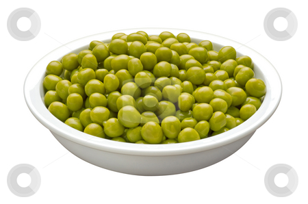 Bowl of Peas stock photo, Bowl of Peas isolated on a white background by Danny Smythe