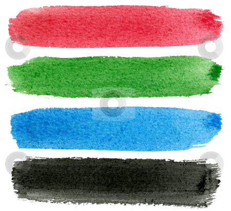 Red, green, blue and black watercolor paint. stock photo, Red, green, blue and black watercolor paint. by Stephen Rees