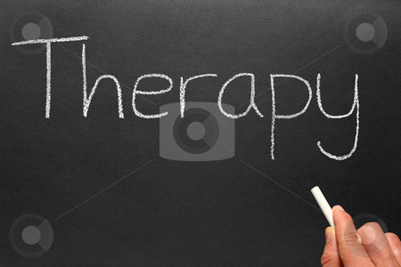 Therapy, written on a blackboard. stock photo, Therapy, written on a blackboard. by Stephen Rees