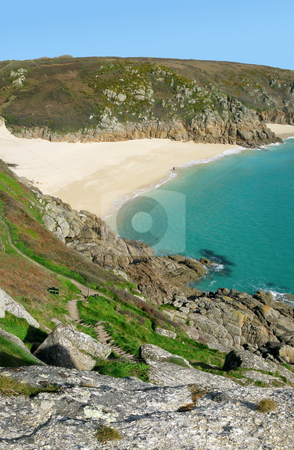Scenic view from the cliffs above Porthcurno beach, Cornwall UK. stock photo, Scenic view from the cliffs above Porthcurno beach, Cornwall UK. by Stephen Rees