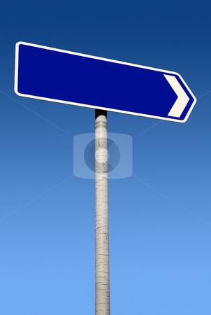 Blue direction sign with space for text. stock photo, Blue direction sign with space for text. by Stephen Rees