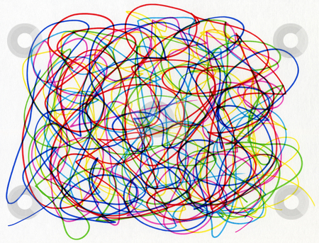 Colorful felt tip pen scribble on white paper. stock photo, Colorful felt tip pen scribble on white paper. by Stephen Rees