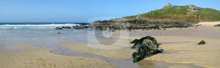 St. Ives Porthmeor beach panorama. stock photo, St. Ives Porthmeor beach panorama. by Stephen Rees