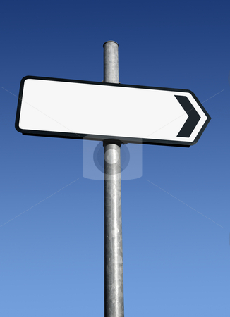 Right pointing blank white direction sign. stock photo, Right pointing blank white direction sign. by Stephen Rees