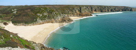 Panoramic view of Porthcurno beach, Cornwall UK. stock photo, Panoramic view of Porthcurno beach, Cornwall UK. by Stephen Rees