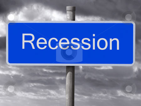 Recession sign and a dark cloudy sky. stock photo, Recession sign and a dark cloudy sky. by Stephen Rees