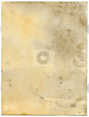Dirty old paper isolated on a white background. stock photo, Dirty old paper isolated on a white background. by Stephen Rees