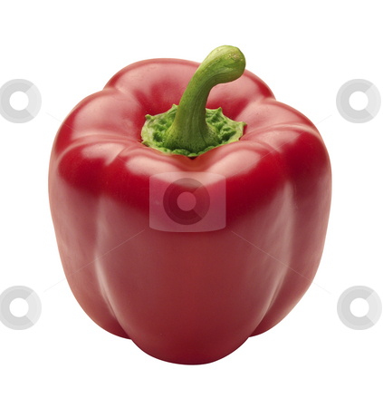 Red Bell Pepper stock photo, Red Bell Pepper isolated on a white background by Danny Smythe
