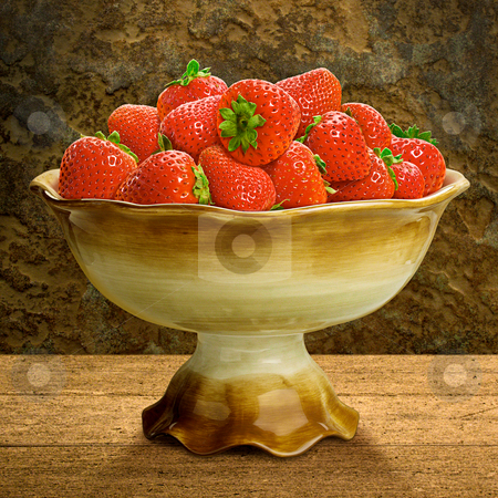 Bowl of Strawberries stock photo, A Still Life of a Bowl of Strawberries by Danny Smythe