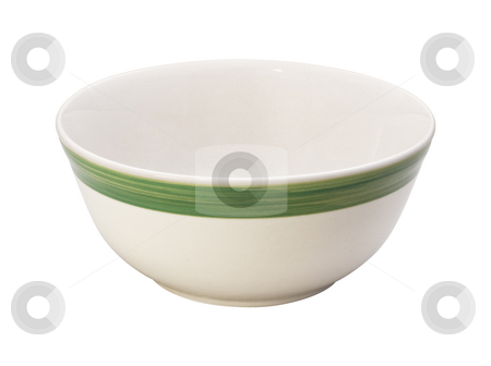 Bowl with A Green Stripe stock photo, Bowl with A Green Stripe isolated on a white background by Danny Smythe