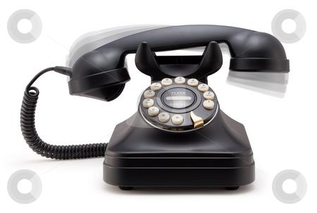 Black Phone Ringing off the Hook stock photo, Black Phone Ringing off the Hook isolated on a white background by Danny Smythe