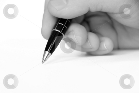 Man hand writing on white paper stock photo, Man hand writing nothing in black and white by Julija Sapic