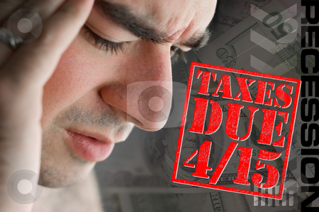 Stressed Over Taxes Due stock photo, A man has intense stress over how he is going to pay his taxes during a time of economic downturn. by Todd Arena