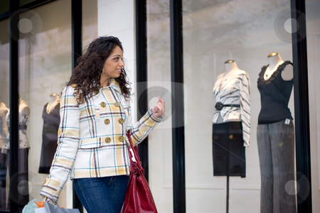 Window Shopping stock photo, An attractive girl out shopping in the city. by Todd Arena