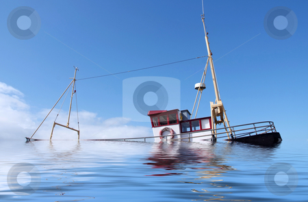 Sinking ship stock photo, A fishing boat sinking at sea by Paul Phillips