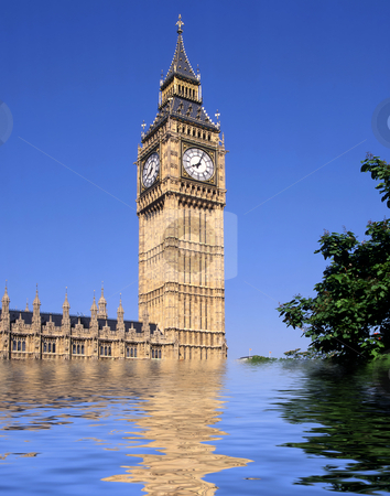 Big Ben London, what could happen stock photo, What may happen in the future with Big Ben and the Palace of Westminster under water as some reports state could be a possibility by 2100 by Paul Phillips