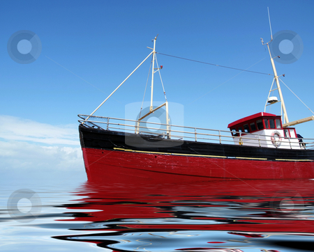 Sea fishing stock photo, Bright red fishing boat at sea by Paul Phillips