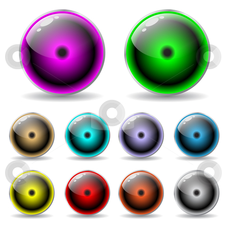 Colorful glow buttons stock vector clipart,  by Mihaly Pal Fazakas
