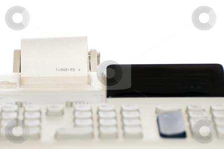 Isolated Adding Machine stock photo, Closeup view of an adding machine, isolated against a white background by Richard Nelson