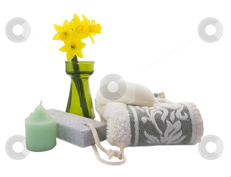 Spa setting stock photo, Spa setting with flowers, soap and candle by John Teeter