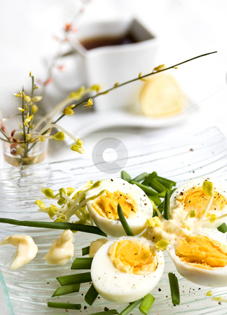 Easter brakfast stock photo, Easter brakfast with eggs by Ewa Kubicka