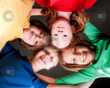 Happy color kids stock photo, Group of little students with different ages in a happy mood by Frenk and Danielle Kaufmann