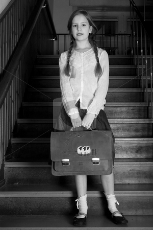 Good girl on the stairs stock photo, Young girl on school with a old school outfit by Frenk and Danielle Kaufmann
