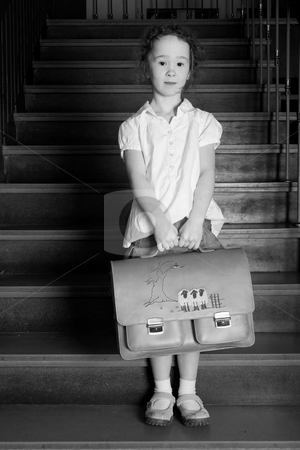 Little girl on the stairs stock photo, Young girl on school with a old school outfit by Frenk and Danielle Kaufmann