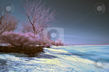 Infrared Landscape stock photo, Winter scene shot with an infrared filter by Vlad Podkhlebnik