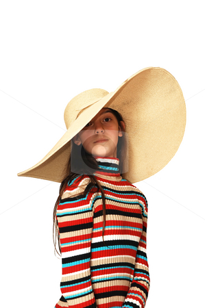 Girl with big hat. stock photo, Pretty young girl with a very big hat, over white. by Horst Petzold