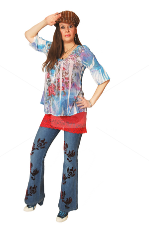 Lady standing in studio. stock photo, A young pretty woman standing in nice blue jeans, for white background and shooing her great figure. by Horst Petzold