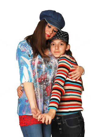 Mother and daughter. stock photo, Beautiful mother and daughter holding tight on white background. by Horst Petzold