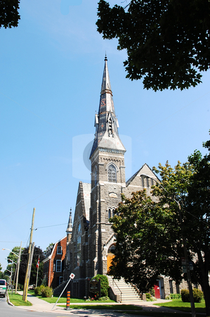 Old church. stock photo, An old church with a very tall tower and a silver roof. by Horst Petzold