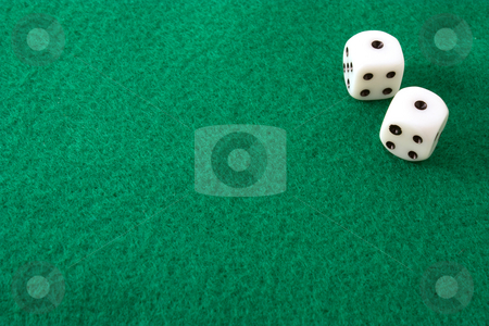Rolled Snake Eyes stock photo, Dice rolled to snake eyes, or double ones, on a green felt table by Terry McClary
