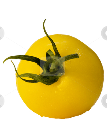 Fresh yellow vine hothouse tomato  stock photo, Fresh yellow vine hothouse tomato with water drop isolated on a white background by Terry McClary