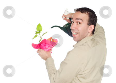 Plant Growth stock photo, A smiling young man is encouraging plant growth by watering it, isolated against a white background by Richard Nelson