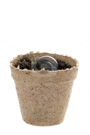 Money Seed stock photo, Concept image of a coin being used as a seed, to signify growing investments or profits by Richard Nelson
