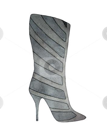 High heel grey boot stock photo, High heel grey boot isolated on white by Julia Shentseva