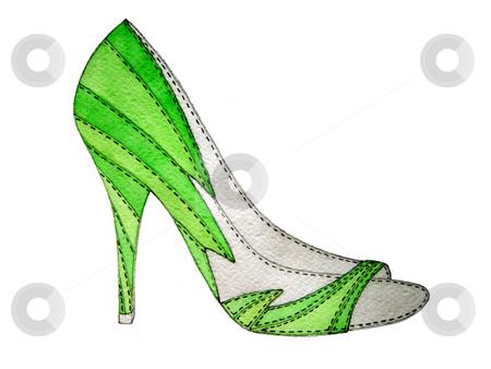 High heel shoe stock photo, Green high heel shoe isolated on white by Julia Shentseva