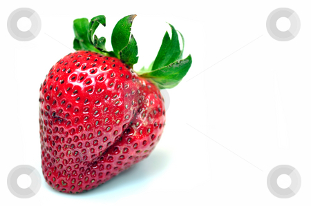 Colorful strawberry stock photo, Photo of a strawberry isolated against white background by Fernando Barozza