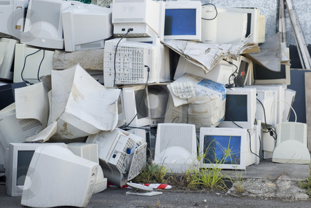E-waste stock photo, Electronic waste, a large pile of unwanted computer monitors by Stephen Gibson