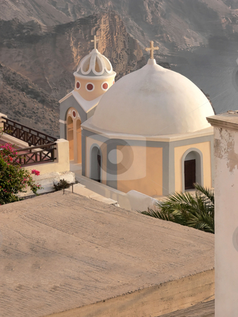 Churches in Greece. stock photo, Two creek churches on the island of santorini in pink and white on blue sky. by Horst Petzold