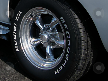 BF Goodrich Radial Tire stock photo, BF Goodrich Radial Tire on Drivers Side Rear of a 1963 Chevy Corvette Sting Ray. by Dazz Lee Photography