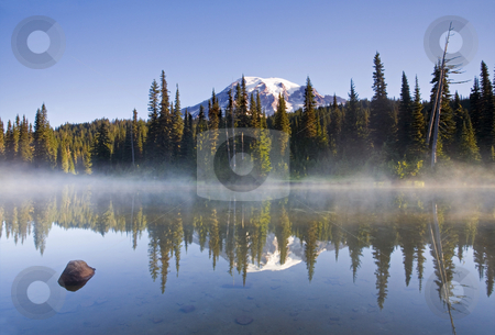 Rainier Morning Fog stock photo, A cold mist rises from a small lake as first light touches the the peak or  Mt. Rainier by Mike Dawson
