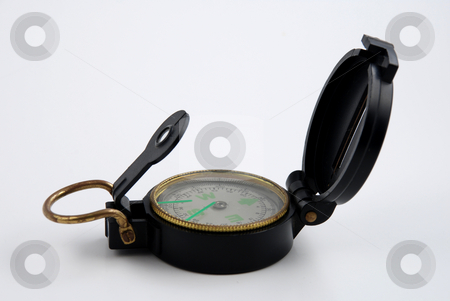Compass stock photo, Stock pictures of a compass used for orientation for hikers and outdoor persons by Albert Lozano