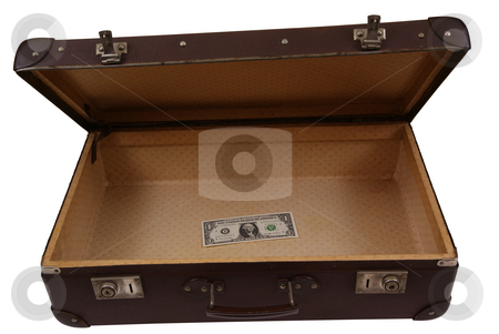 Suitcase stock photo, Old suitcase with one dollar isolated on white background by Jolanta Dabrowska