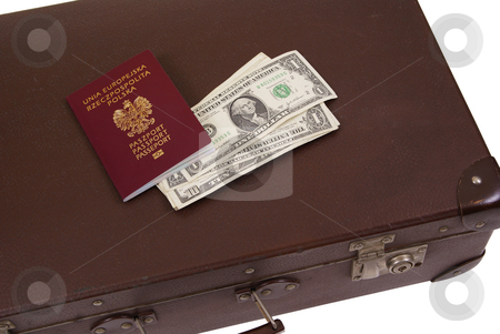 Suitcase stock photo, Old suitcase with money and passport isolated on white background by Jolanta Dabrowska