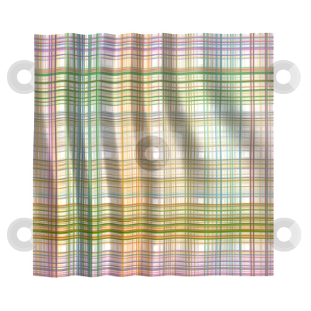 Rumpled handkerchief stock photo, Clean wrinkled tartan handkerchief in pastel colors on white background by Wino Evertz