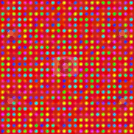Colored stars pattern stock photo, Seamless texture of vibrant colored star spots on red by Wino Evertz