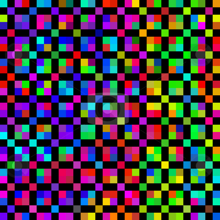Bright colored cubes pattern stock photo, Seamless texture of many colorful square dots by Wino Evertz